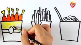 How to Draw KFC and French Fries for Kids | Learn Drawing Less than a Dollar