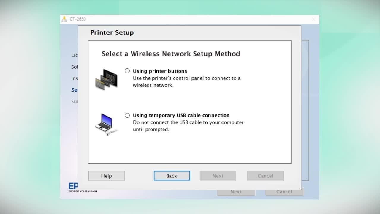 Epson EcoTank ET-2650 | Wireless Setup Using the Printer's Buttons