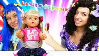 Les princesses et Zapf Baby Born Sister. Les barrettes pour les cheveux.