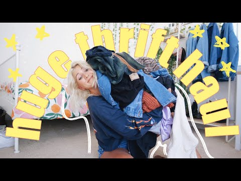HUGE GOODWILL OUTLET TRY ON THRIFT STORE HAUL | I got a new wardrobe for ONLY $37!!!
