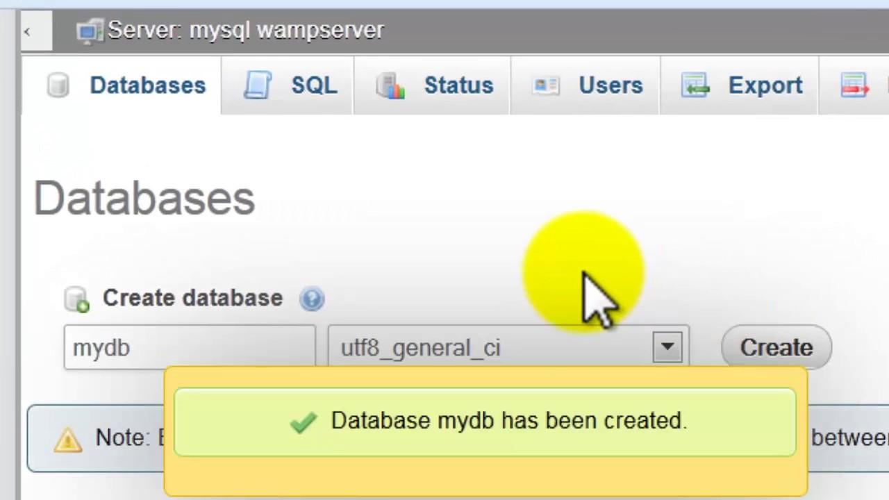 Phpmyadmin2016 - Learn How Create Mysql Database And Tables Phpmyadmin New 2017