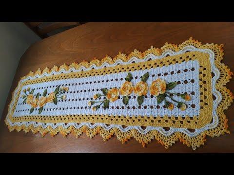 Caminho de mesa em crochê fácil