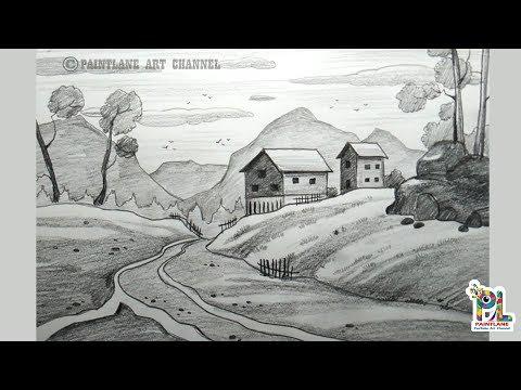 How to draw Landscape Art for Beginners   Children Scenery Art