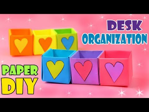 DIY MINI ORGANIZER BOXES FROM PAPER DESK ORGANIZATION IDEA