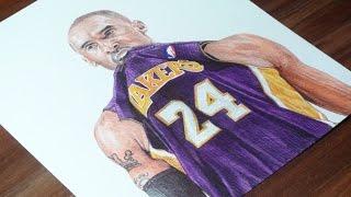 Kobe Bryant Pen Drawing - LA Lakers - DeMoose Art
