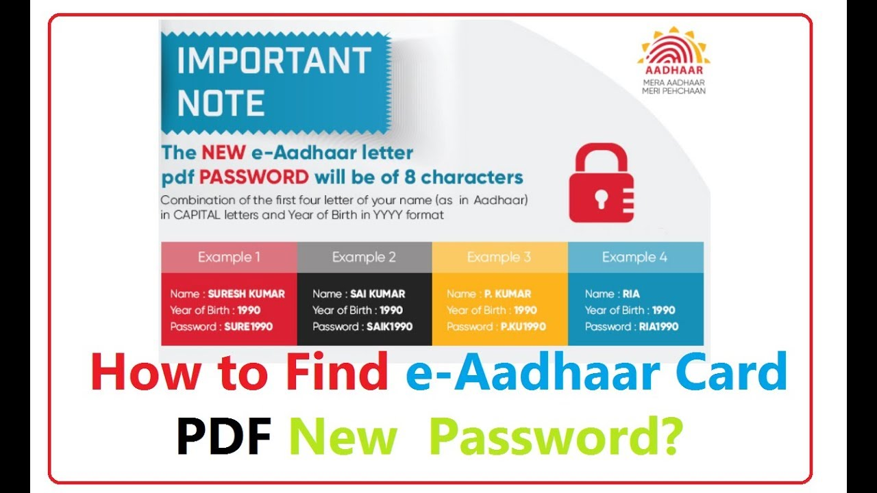 Open E Aadhar Card Pdf File Password