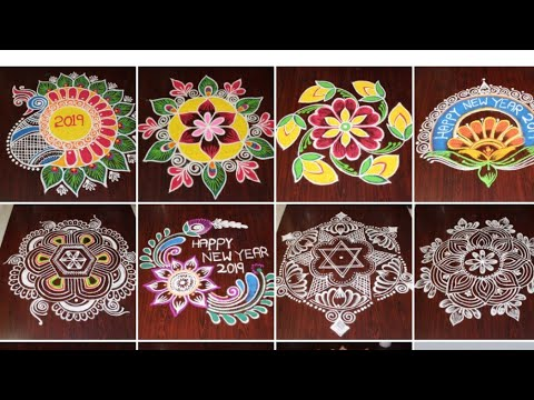 New year 2019 rangoli collections by Dheepiika * Best freehand rangoli collections for sankranthi