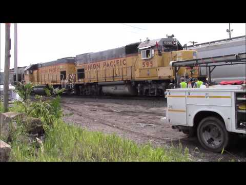 Union Pacific engineer yells from the locomotive at us to leave, also with some good yard action.