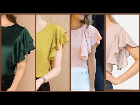 Beautiful Ruffle Sleeves Designs For Casual Wear Tunic Tops