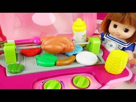 Baby doll camping griil cooking toy bag baby Doli play