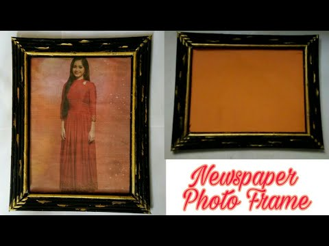 How to make photo frame at home ll Newspaper photo frame ll paper craft