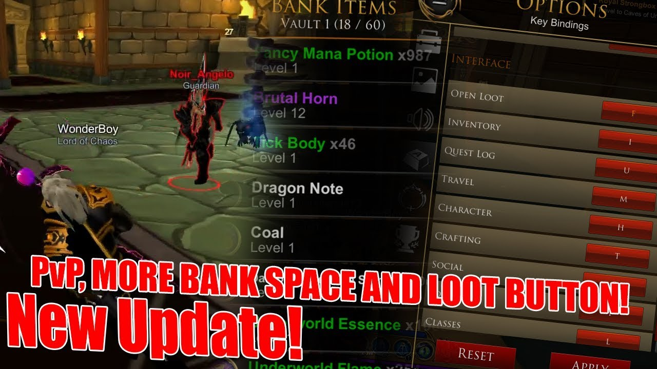 AQ3D| New Update! PvP, MORE BANK SPACE AND LOOT BUTTON!