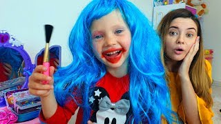 Nastya and Tasya play in a beauty salon for kids