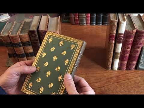 old leather bound books x 11 antique set shelf decoration French