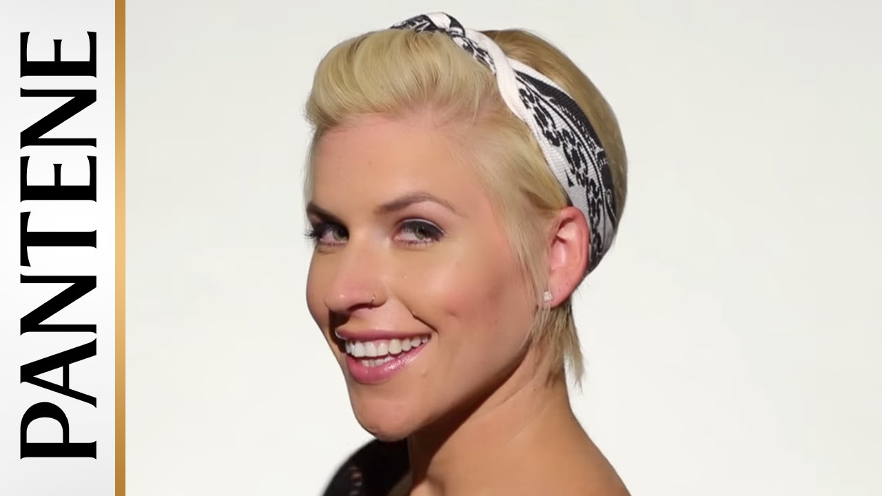 Easy Hairstyles for Short Hair: Bandana Pin-Up Pixie Cut - YouTube