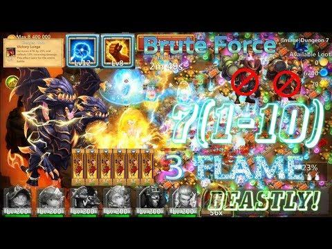 Brute Force Demogorgon 3Flame Dungeon 7(1-10) Action! Castle Clash