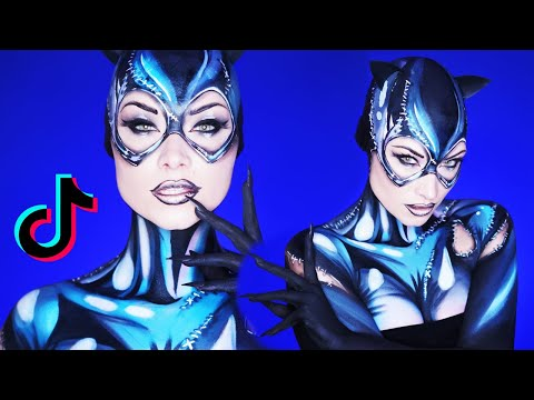 Stay Home & Become Cat Woman (ENTIRELY Makeup!)   TikTok