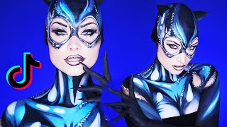 Stay Home & Become Cat Woman (ENTIRELY Makeup!) | TikTok