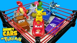 Disney Cars Toys vs Pokemon Toys Shake Rumble Match with Lightning McQueen by KID CITY