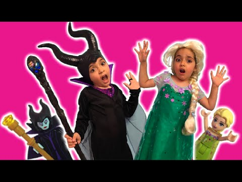 Elsa Vs. Maleficent Go To Legoland + Chocolate Fountain Challenge -  Princesses In Real Life