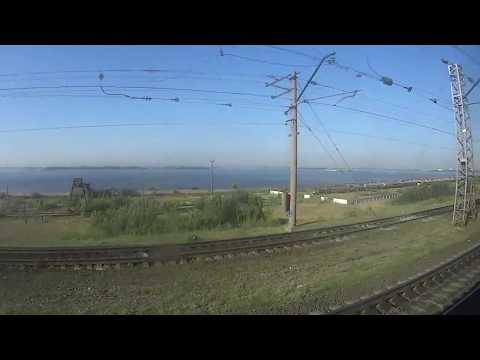 Из окна поезда (Самара, Волга, мост через Волгу)