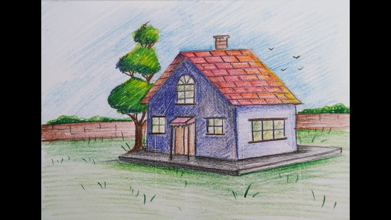 How To Draw A Scenery Of Easy House Cottage