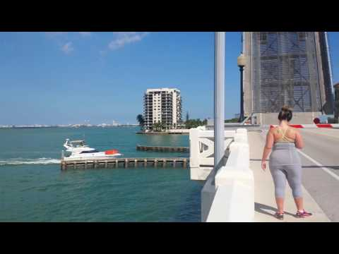 Drawbridge Opening Historic Venetian Causeway Miami, FL.
