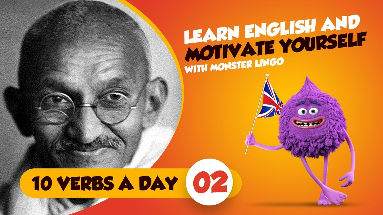 Gandi Picture English learn english | common english verbs and motivational quotes | mahatma  gandi +9 quotes | part 2