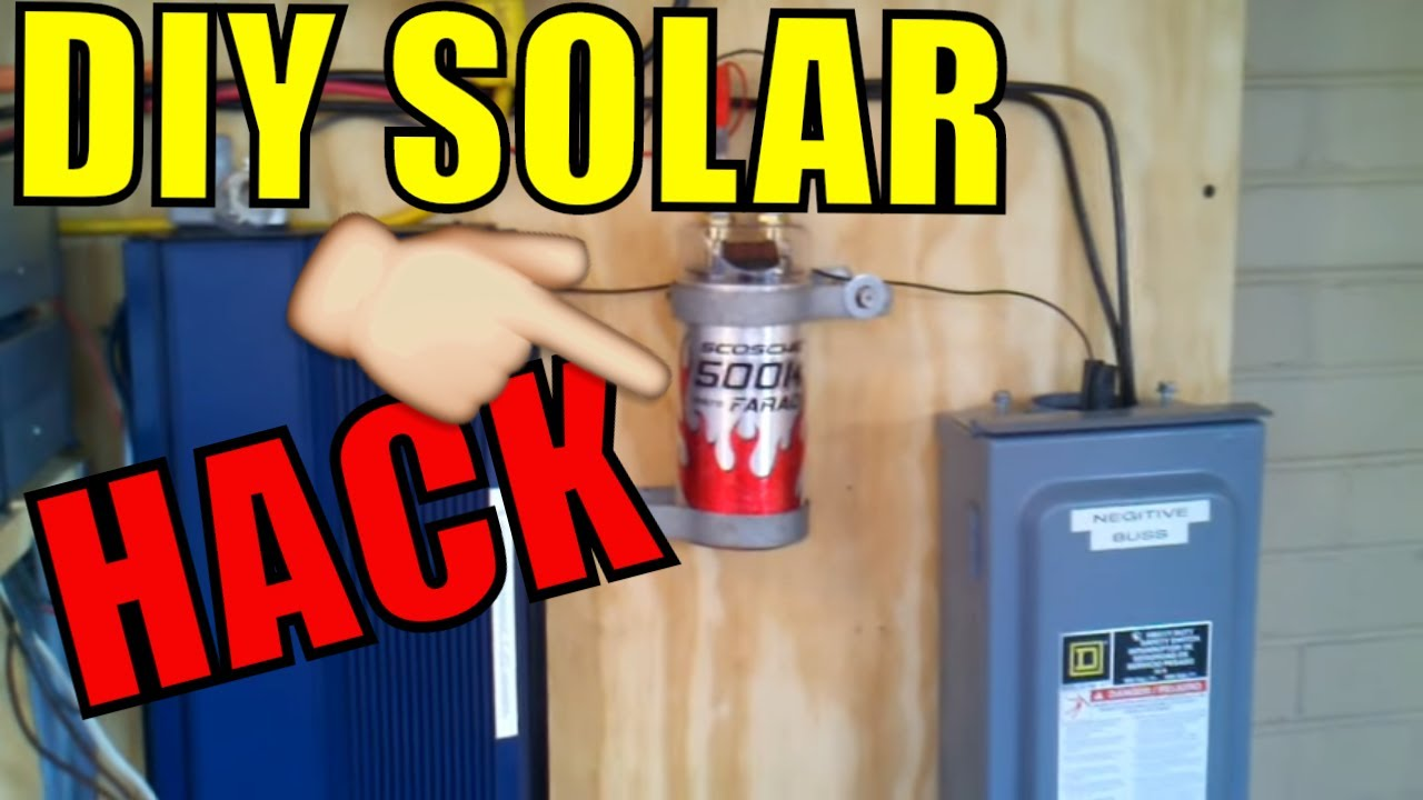 how to wire the 500k uf capacitor into your pv solar setup to help with starting up inverter loads youtube [ 1280 x 720 Pixel ]
