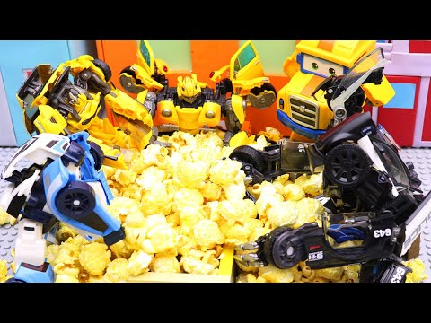 Bumblebee, Tobot Robot Stop motion Police Car Pretend Play with popcorn!