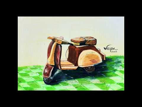 Vẽ xe Vespa - Vẽ xe máy - Hướng dẫn vẽ và tô màu xe máy Vespa/ Draw Vespa motorcycles