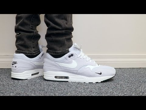 NIKE AIR MAX 1 GREYPURE PLATINUM MINI SWOOSH ON FEET Budget Shoe of the month!