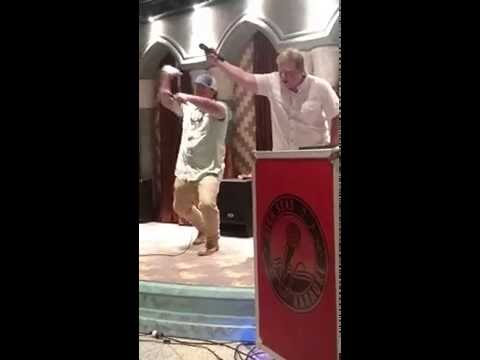 Drunk relatives singing Karaoke on a cruise ship