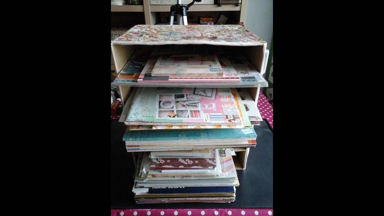 Organizador r stico para papeles de scrap reciclado - Organizador de papeles ...