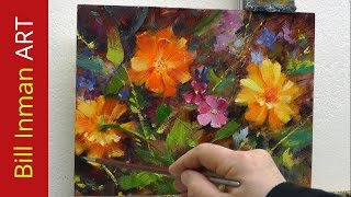 Learn to Paint Daisies Wildflowers & Marigolds Oil Painting Demo Fast Motion by Bill Inman