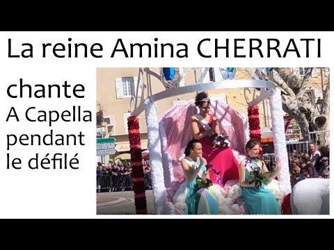 Sem14   La reine 2018 Amina CHERRATI chante a cappella pendant le défilé