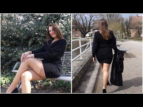 MINI DRESS, STOCKINGS And HIGH HEELS - Winter Style | Kats Little World