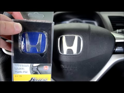 Blue JDM Steering Wheel emblem Install