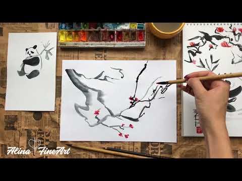 Как рисовать акварелью цветы. Сакура акварелью. Chinese Watercolor Flowers