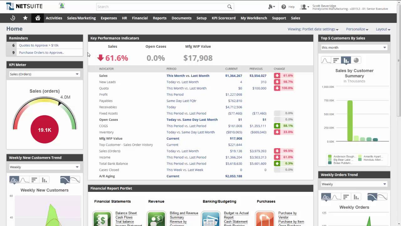 Netsuite Erp Dashboard Youtube