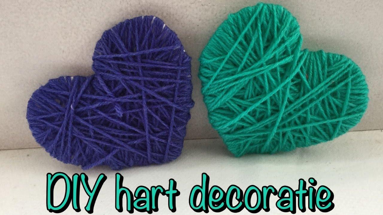Diy valentijn decoratie hartjes van karton en wol knutselen diy