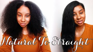 NATURAL HAIR | Natural To Straight on Multi-Textured Curly Hair Thumbnail