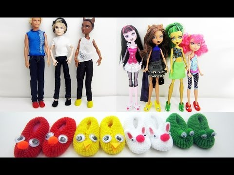 How to make doll Monster High / Barbie slippers - Really works - Doll Crafts - simplekidscrafts