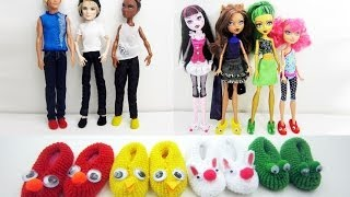 How To Make Doll Monster High / Barbie Slippers - Really Works - Doll Crafts