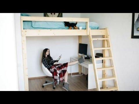 Кровать чердак с кроватью и столом фото