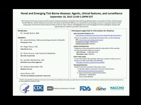 New & Emerging Tickborne Diseases: Agents, Clinical Features & Surveillance