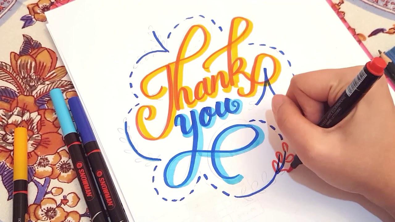 Thank You Hand Lettering Tutorial - Tulisan Ucapan Terima Kasih