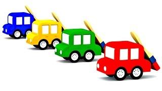 Apprendre les couleurs avec les 4 voitures colorées. Dessin animé pour enfants