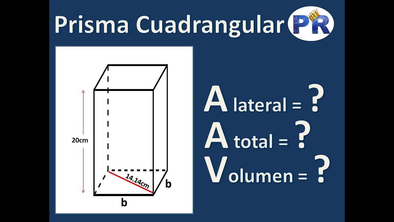 En geometría, un prisma es un poliedro que comprende una base poligonal de n lados, una segunda base que. Prisma Cuadrangular Area Lateral Area Total Volumen Youtube