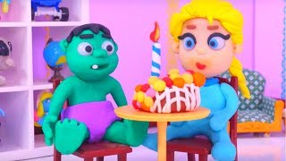 BABY HULK BIRTHDAY ❤ Spiderman, Hulk & Frozen Elsa Play Doh Cartoons For Kids